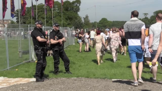 gvs from radio 1's big weekend in hull, where katy perry, little mix, kings of leon and kasabian are headlining. there is a heightened police... - radio 1 big weekend stock-videos und b-roll-filmmaterial