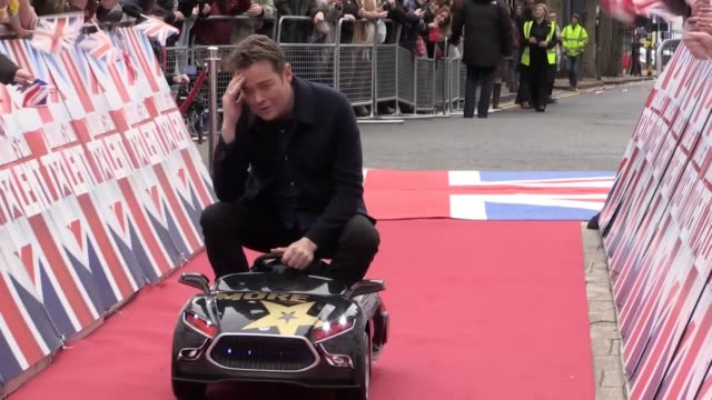 gvs from the britain's got talent auditions red carpet in birmingham. stephen mulhern, amanda holden, david walliams, alesha dixon, ant and dec and... - britain's got talent stock-videos und b-roll-filmmaterial