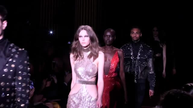 gvs from the julien macdonald show on day 3 of london fashion week includes shot of the catwalk and backstage - winnie harlow stock videos & royalty-free footage
