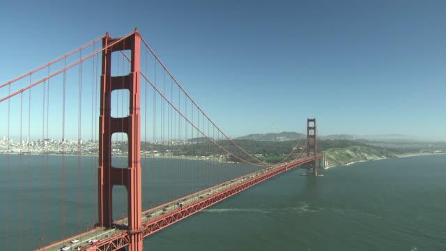 gvs golden gate bridge and bay bridge - san francisco oakland bay bridge stock videos & royalty-free footage