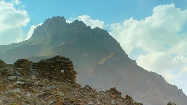 gvs house ruins, yagnob valley, tajikstan - high up stock videos & royalty-free footage