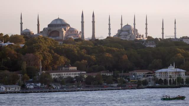 gvs istanbul skyline, turkey - blue mosque stock videos & royalty-free footage