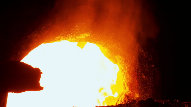 gvs new steel made into slabs in steelworks - furnace stock videos & royalty-free footage