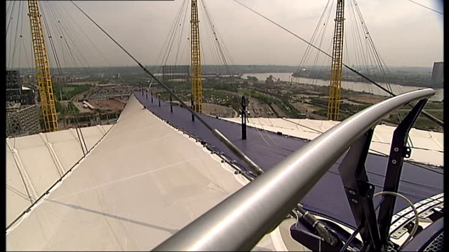 GVs O2 Sky walkway ArcelorMittal Orbit tower seen in distance / Blue walkway over roof of Dome / Views from top of O2 Arena / GVs Blue walkway /...