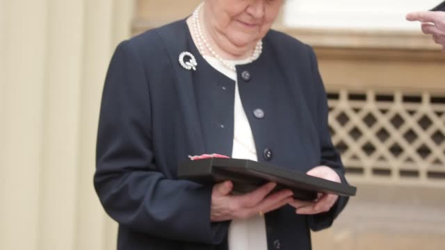 gvs of 88yearold patricia routledge after becoming a dame commander in an investiture ceremony at buckingham palace - patricia routledge stock videos & royalty-free footage