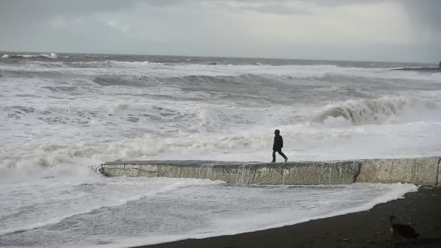 gvs of a stormswept beach in aberystwyth wales as storm doris sweeps britain - aberystwyth stock videos & royalty-free footage