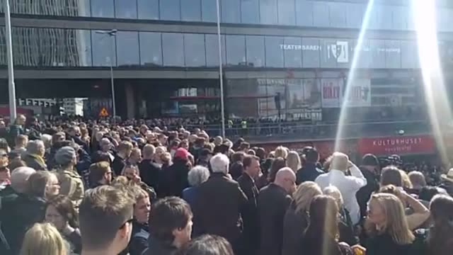 Gvs of a vigil in Stockholm for the victims of the lorry attack which occurred on April 7