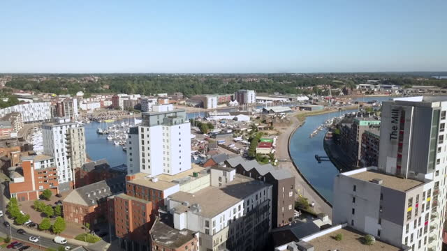 gvs of apartment blocks in ipswich with unsafe cladding - real time stock videos & royalty-free footage