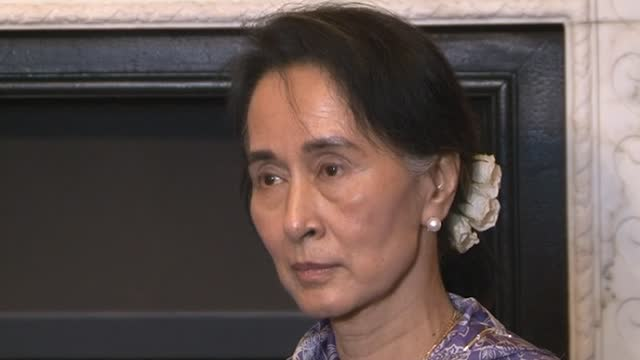 gvs of aung san suu kyi on previous visits to the uk during her time as official state counsellor of myanmar, also known as burma, and the leader of... - ミャンマー点の映像素材/bロール