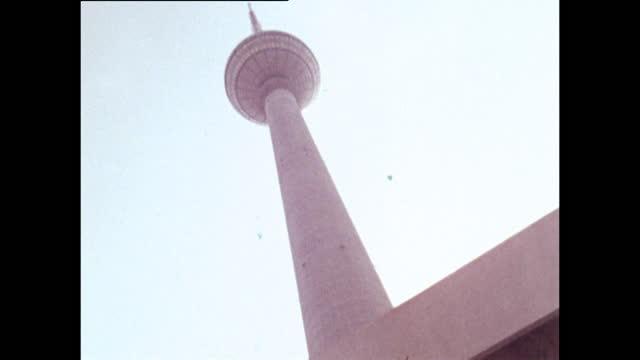las gvs of berlin tv tower in east berlin; 1970 - germany stock videos & royalty-free footage