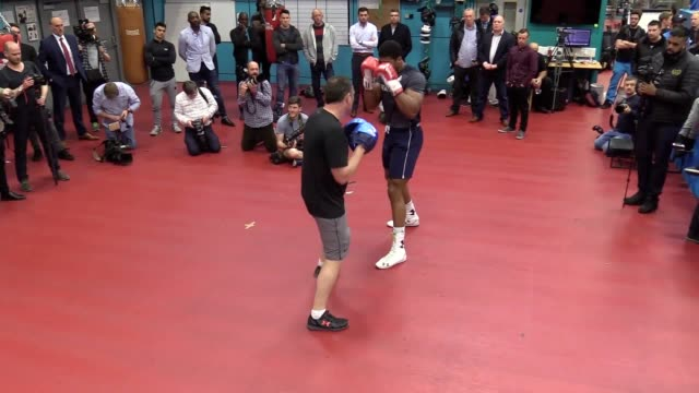 gvs of boxer anthony joshua training ahead of his fight against wladimir klitschko during the media session at the english institute of sport... - anthony joshua boxer stock videos & royalty-free footage