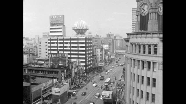 gvs of busy ginza-4 intersection in tokyo; 1964 - globe navigational equipment stock videos & royalty-free footage