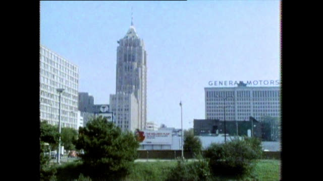gvs of car company headquarters in detroit; 1986 - general motors stock videos & royalty-free footage