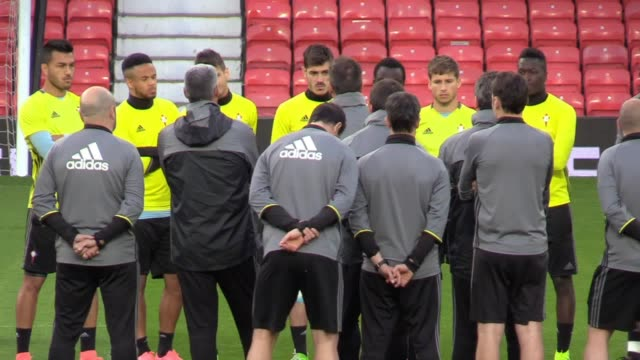 GVs of Celta Vigo training at Old Trafford as they prepare for their Europe League semifinal second leg against Manchester United Shots of Group x6...