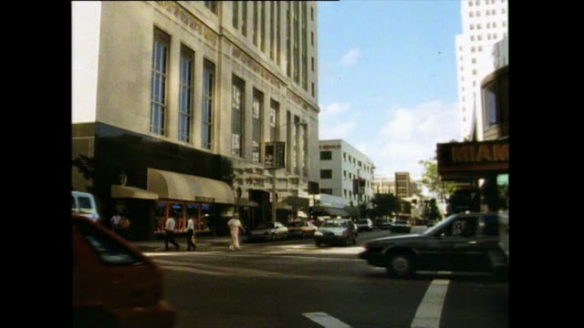 gvs of city streets in miami, 1991 - trolley bus stock videos & royalty-free footage