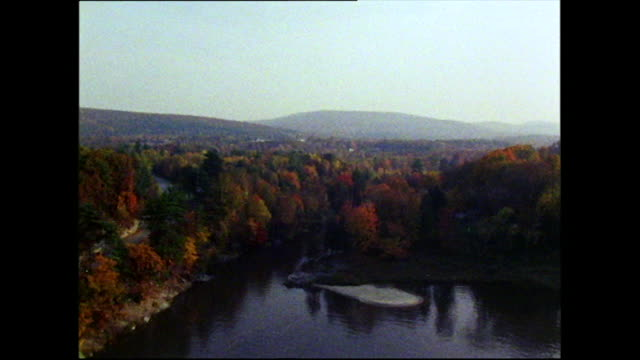 gvs of colourful vermont forest and landscape; 1972 - バーモント州点の映像素材/bロール