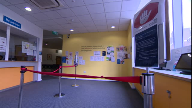 gvs of empty gp surgery in london due to the coronavirus pandemic - general practitioner stock videos & royalty-free footage