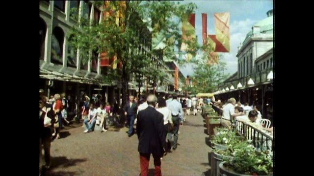 gvs of faneuil market exterior; boston, 1984 - 歩行者専用地域点の映像素材/bロール
