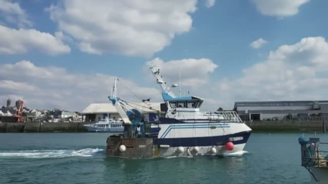gvs of fishing industry in jersey in the channel islands - channel islands england stock videos & royalty-free footage