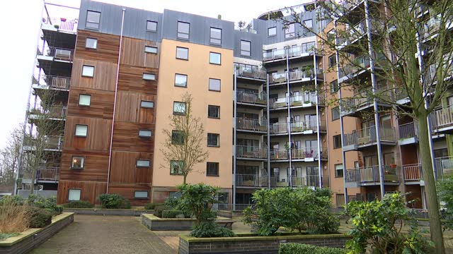 gvs of flammable cladding in south london; england: london: greenwich: seren park gardens: ext various shots of housing block with flammable cladding... - flammable stock videos & royalty-free footage