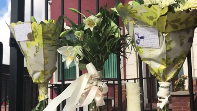 gvs of flowers and a black flag and the national flag of ireland at half mast at connolly house andersonstown belfast following the death of northern... - martin mcguinness stock videos and b-roll footage