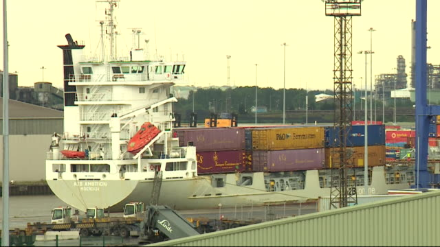 gvs of freight ships at port of immingham that will be utilised under operation yellowhammer in the event of a no deal brexit - docks stock videos & royalty-free footage