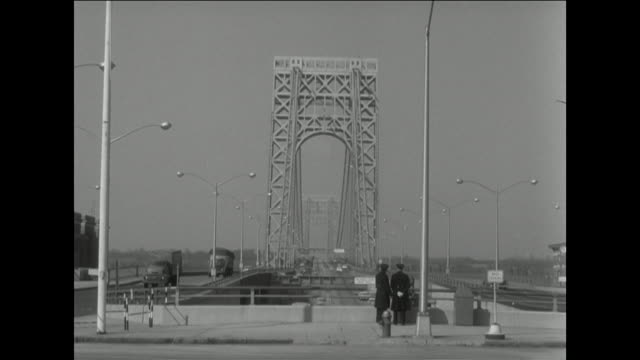 gvs of george washington bridge with single deck in 1957 - 1957 stock videos & royalty-free footage