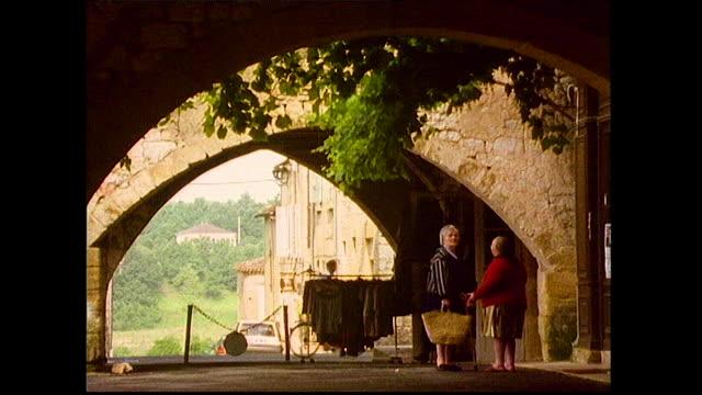 gvs of idyllic french streets and people; 1993 - フランス国旗点の映像素材/bロール