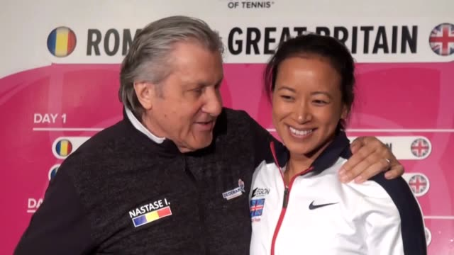 gvs of ilie nastase posing with anne keothavong following friday's draw. the romania coach asked for her room number during the official dinner on... - romania stock videos & royalty-free footage