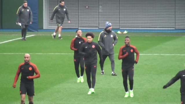 GVs of Manchester City training ahead of Wednesday's Champions League last16 second leg against Monaco Includes shots of Kompany Sagna Caballero...
