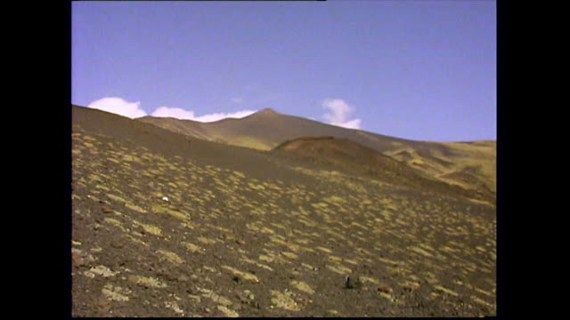 gvs of mount etna's volcanic landscape with tourists; 1993 - italy stock videos & royalty-free footage