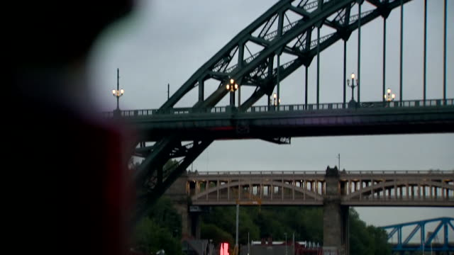 gvs of newcastle upon tyne at dusk as new coronavirus restrictions are announced making it illegal for people in the north east of england to mix... - newcastle upon tyne stock videos & royalty-free footage