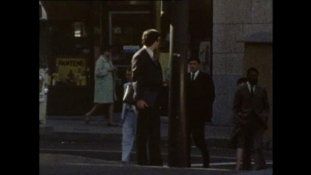 gvs of people crossing san francisco street; 1970 - california street san francisco stock videos & royalty-free footage