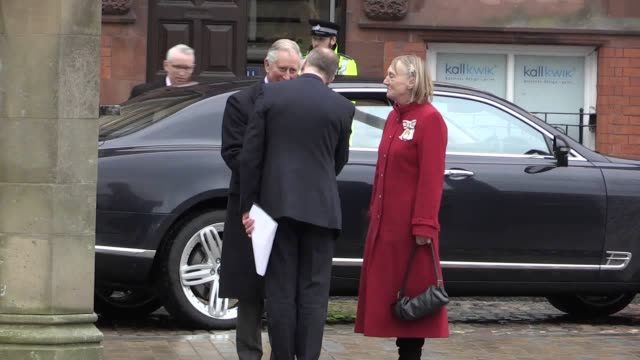 gvs of prince charles visiting holy trinity church in hull city centre, where he was greeted by archbishop of york, dr john sentamu. the visit was... - hull stock videos & royalty-free footage