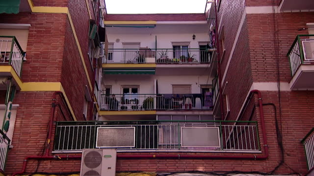 """gvs of residential area in madrid one of the zones in the city that is now in a partial lockdown due to rising coronavirus cases - """"bbc news"""" stock videos & royalty-free footage"""