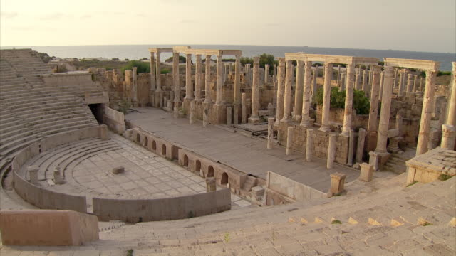 gvs of roman ruins of leptis magna, libya - old ruin stock videos & royalty-free footage