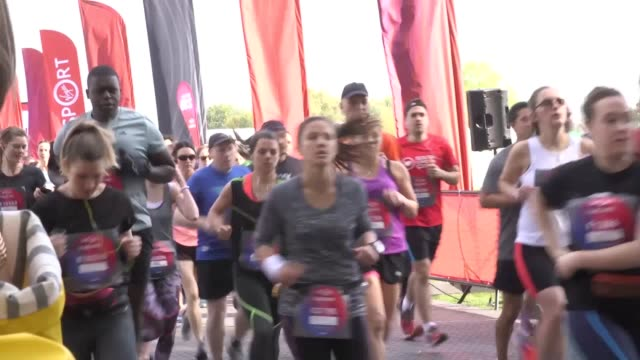 gvs of runners taking part in the first virgin sport hackney festival of fitness in east london. - hackney stock videos & royalty-free footage