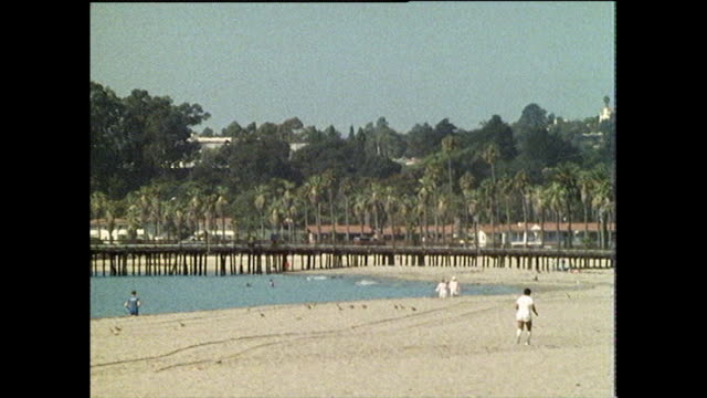 gvs of santa monica marina and beaches 1986 - the past stock videos & royalty-free footage