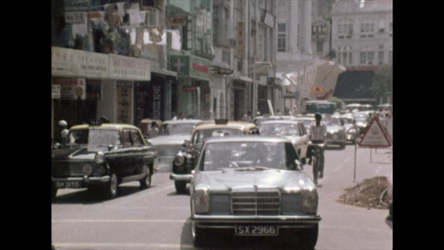 gvs of singapore streets, pedestrians and traffic; 1972 - independence stock videos & royalty-free footage