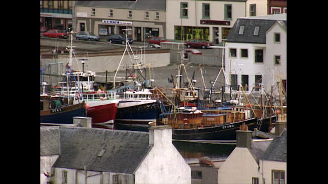 ha gvs of stornoway harbour and fishing trawler boats; 1993 - general view stock videos & royalty-free footage