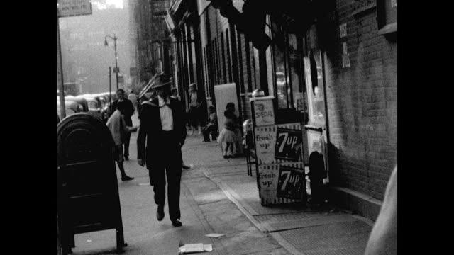 gvs of streets in new york's bowery district in 1961 - run down stock videos & royalty-free footage