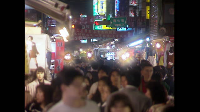gvs of taipei city streets, night market and food stalls; 1996 - unknown gender stock videos & royalty-free footage