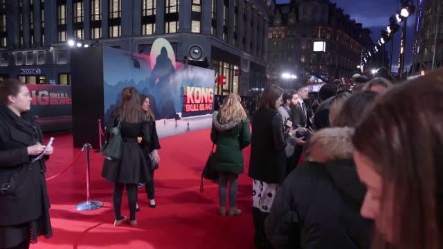 GVs of the European Premiere of the movie Kong Skull Island with Tom Hiddleston the Director Jordan VogtRoberts Brie Larson Samuel L Jackson Toby...