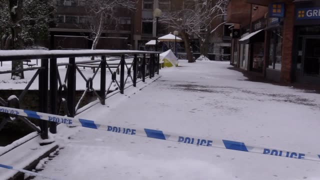 GVs of the snowcovered bench at The Maltings in Salisbury where former Russian double agent Sergei Skripal and his 33yearold daughter Yulia had been...