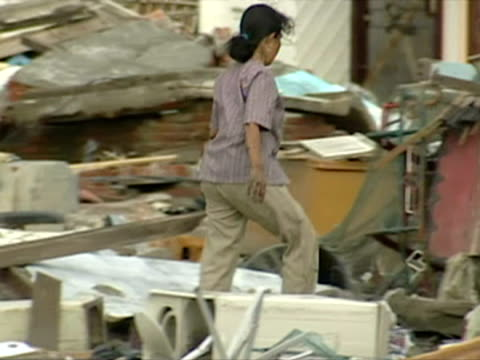 gvs of town devastated by tsunami in aceh province, indonesia - 2004 stock-videos und b-roll-filmmaterial