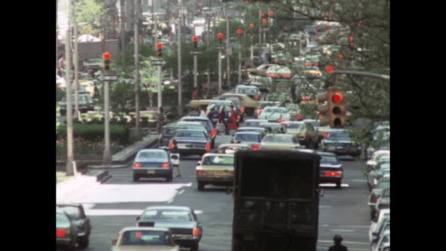 gvs of traffic at stoplights in new york city; 1971 - 1971 stock videos & royalty-free footage