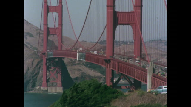 gvs of traffic going over golden gate bridge - 1970 1979 stock videos & royalty-free footage