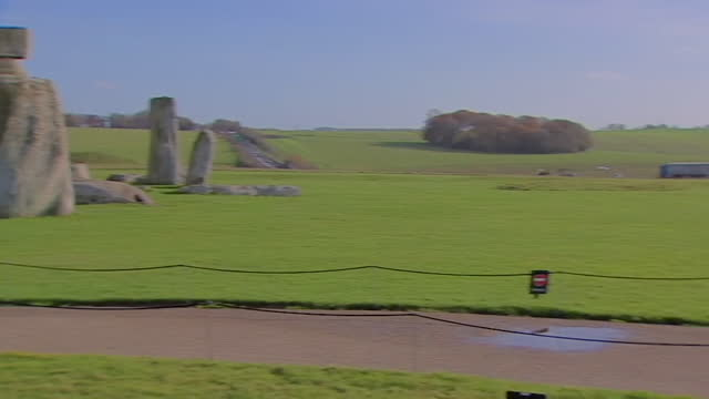 gvs of traffic on the a303 road running alongside stonehenge - reportage stock videos & royalty-free footage