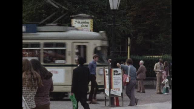gvs of trams driving through bonn city centre; 1972 - north rhine westphalia stock videos & royalty-free footage