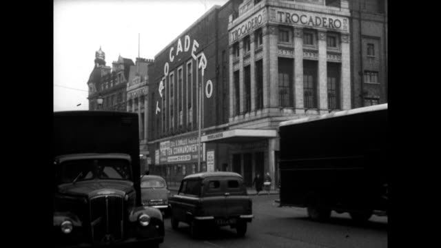 gvs of trocadero cinema on new kent road, london; 1960 - general view stock videos & royalty-free footage